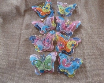 Set of 8 Colourful Butterfly Appliqué embelishments