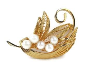 Vintage Openwork Filigree Rhinestone Faux Pearl Leaf motif  Pin Brooch