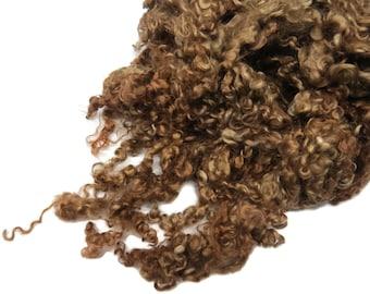 1 oz Premium Kid Mohair wool locks , Light brown