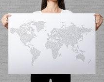 World map circles coloring page, dots pattern, coloring page for adults, giant coloring poster, bubbles coloring map, world travel map