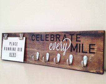 Celebrate Every Mile, Running Medal Holder, Running Plaque, Running Sign, Running Bib Holder, Marathon Sign, Custom Sign, Marathon Plaque