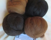 4 oz. Alpaca Roving Combo Pack - 100% Natural Black/Dark Brown/Medium Brown & Dark Fawn For Spinning, Nuno Felting or Needlefelting