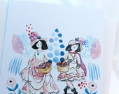 CLEARANCE Staffordshire Girls Stationery Cards -Garden Baskets - Blank Inside- Gift set featuring original watercolor and ink artwork