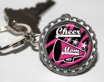 Cheer Mom Bottlecap Key Chain, Cheerleading Mom, Gift for Cheer Mom, Gift for Cheer Coach, Cheerleader Gift, Cheer Mom, Cheer Gifts