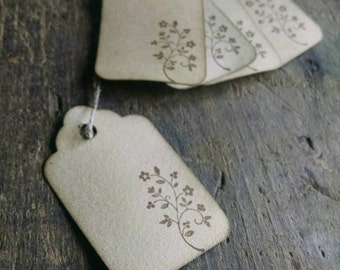 Tiny Vine Scalloped Gift Tags,  floral vine, set of 12
