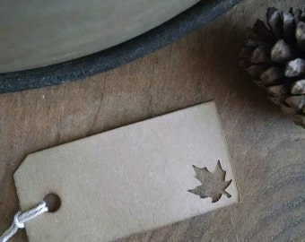 Maple Leaf- hand punched gift tags, maple leaf punch, set of 12