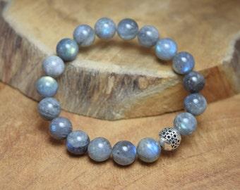 Labradorite bracelet, Labradorite beads, Gemstone bracelet, Sterling silver bead, Stretch bracelet, Grey bracelet, Labradorite jewelry