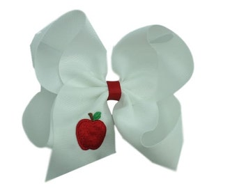 Apple Hair Bow, Ready to Ship, Free Shipping Embroidered
