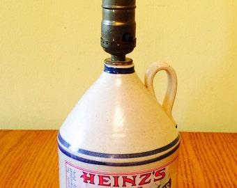 Vintage H.J. Heinz Pure Cider Vinegar Jug Lamp, Collectible Lighting
