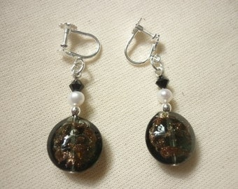 Murano Glass Lentil Bead Earrings - for non pierced ears