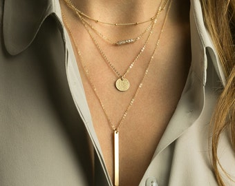 Layering Necklaces Gold, Delicate, Minimal: also in Sterling Silver, Rose Gold. Personalized Initials - Layered and Long Necklace Set, LS940