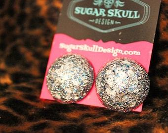 Snowy Sparkle Resin Post Earrings - Medium Circle Shape