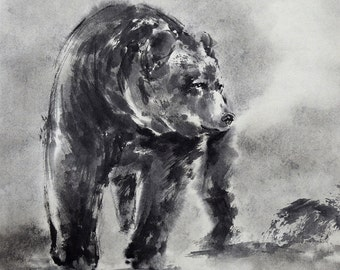 Bear, Bear Chinese Sumi-e Painting, Wild Life Art, Black Bear, Home Decor, Brush Painting, Native American