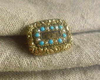 Victorian Turquoise PEARL 9CT Mourning Hair Brooch