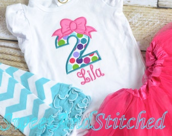 Pink and Turquoise First (1st, 2nd, 3rd, 4th, 5th) Birthday Shirt, Girls Birthday shirt with bow, Girls Birthday Shirt pink and turquoise