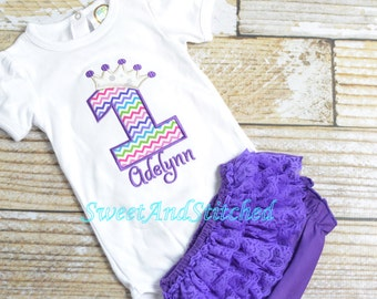 Purple First (1st) Birthday Outfit - First birthday princess outfit, birthday bloomers! princess with crown!  Birthday Bloomers