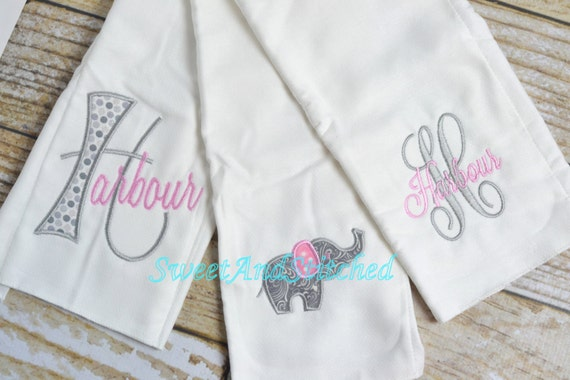 Monogrammed Burp Cloth set in pink and gray elephants, baby shower gift, baby girl layette, monogram burp cloth set, personalized burp cloth