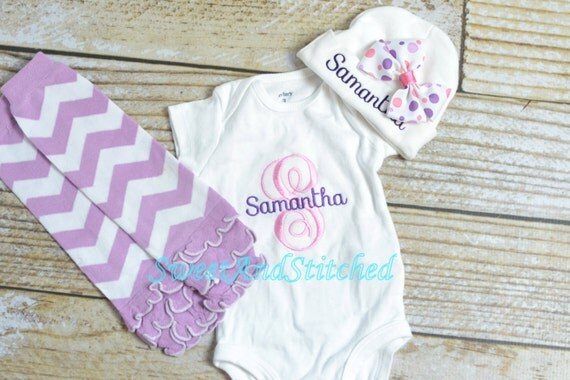 Personalized newborn outfit with tutu pink and purple, monogrammed baby outfit!  baby girl take home outfit, pink and purple newborn outfit
