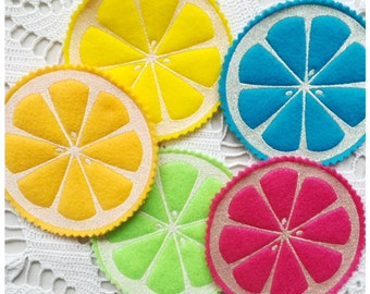 Summer Citrus Coasters - Machine Embroidery Design - Machine Embroidery Instant Download Design