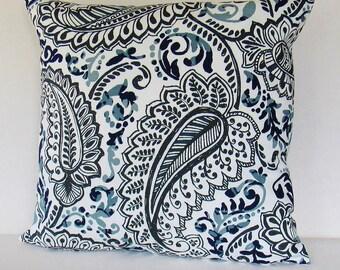 Navy Blue Paisley Pillow Cover Gray White Decorative Throw Toss Accent Sofa 16x16 18x18 20x20 22x22 12x16 12x18 12x20 14x22 Zipper