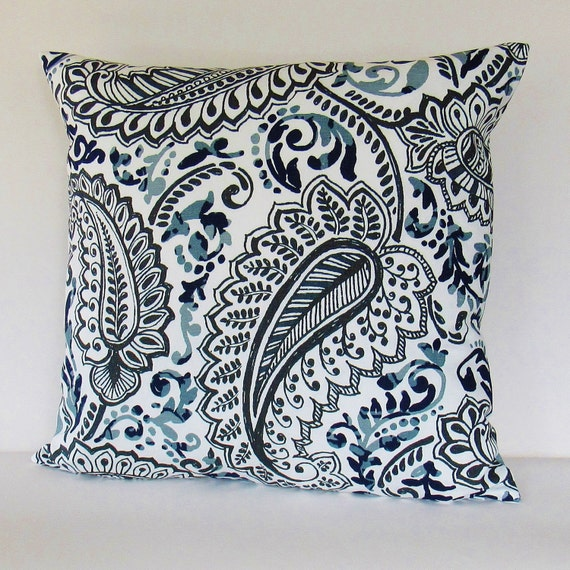 navy blue gray paisley pillow cover white decorative throw. Black Bedroom Furniture Sets. Home Design Ideas