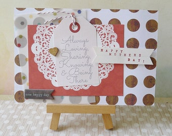 Handmade Layered Mother's Day Card - Rustic Wooden Doily