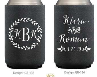 Personalized Wreath Can Coolers & Huggies, Custom Can Coolers, Personalized Wedding Favors, Custom Party Favors, Custom Printed Can Coolers