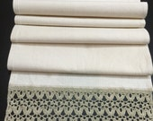 Linen Cotton Table Runner Crocheted Lace 63 inches Ivory Beige