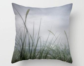 Sea Grass Photo Throw Pillow Cover, home decor, photo pillow, coastal decor, beach, ocean, gray, blue, green