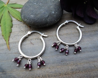 Sterling Silver Hoop Earrings with Garnets