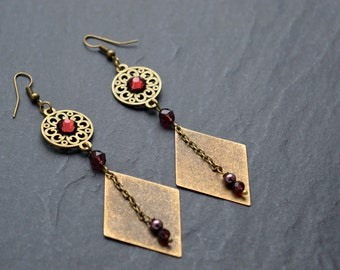 """Earrings """"Soledad"""" consist of a cabochon and Swarovski Crystal beads"""