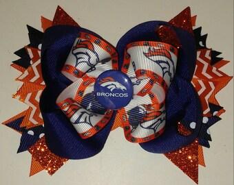 Denver Bronco hair bow