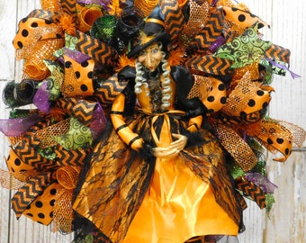 Halloween Witch DecoMesh Front Door Wreath