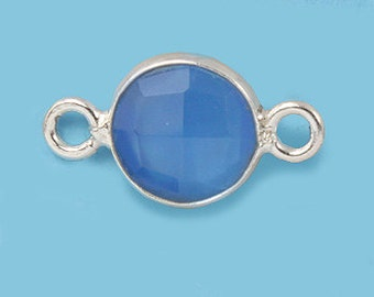 1 ea. Tiny 6mm Blue Onyx and Solid Sterling Silver Bezel Connecor Link Birthstone