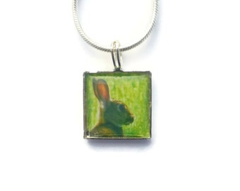Easter Bunny Necklace, Rabbit Necklace, Rabbit Pendant, Rabbit Jewelry, Silver Necklace, Rabbit Charm, Spring Jewelry, Square Necklace