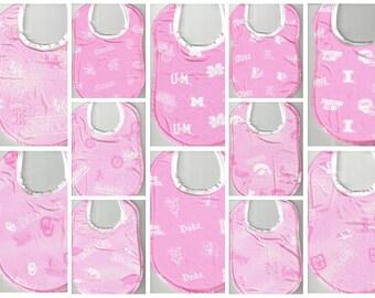 Handmade Baby Bibs made with PINK NCAA fabric