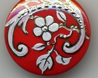 Hand painted Czech glass button red with white flower  - size 12, 27 mm FCB 1148