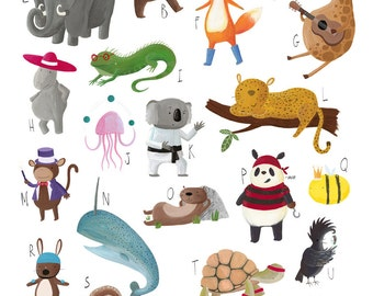 a3 Animal Alphabet A-Z Poster for Childrens Nurserys and Bedrooms A3