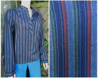 Vintage 70's 80's hippie stripy striped earthy collarless grandad shirt blouse top M L
