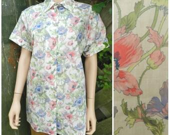 Vintage 80's cotton chintz floral nightingales blouse shirt u.k. 12 - 14 M