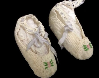 Vintage Crocheted Baby Shoes. Off White. Fine Thread Crochet.  Some Discolorations