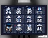 "Star Wars Inspired ""501st: Battle of Umbara"" 17""X11"" Artist Proof Fine Art Print Helmet Study by Herofied Clone Troopers Clone Wars Rex"