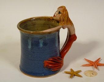 MERMAID MUG, Mermaid Sculpture, Large Pottery Mug with Mermaid Handle,  Blonde Haired Mermaid