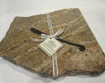 Granite Cheese Board, Large size, Brown mix, includes wrought iron style cheese knife