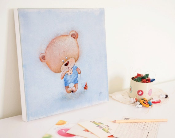 Boy Nursery Wall Art Nursery Canvas Art Boys Room Art Bear Nursery