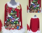 2 Turtle Doves, partridge, a Pear & squirrel Christmas Tree Tacky Ugly Christmas Sweater Mini Dress Light UP FooFoo Feathers size 18/20 XL