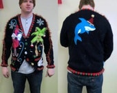 3-D Pink Flamingo Tacky Ugly Christmas Tropical Delight total Fun Cardigan Sweater size L  Light UP Bow Tie Mens or womens Land Shark