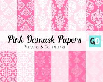 Damask Digital Paper, Pink and White Damask, Pink Damask Background