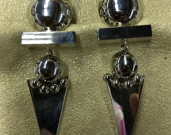 Vintage silver plated drop clip on earrings