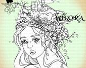 Digital Stamp- Aurora 'Kingdom of Kitties' -300dpi JPG/PNG files -MAC0333